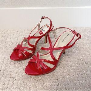 TAHARI Red Strappy Heels with Platform